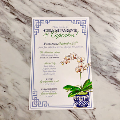 Blue Potted Orchid Invitation