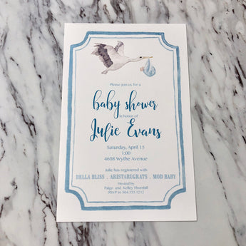 Stork Invitation | Blue