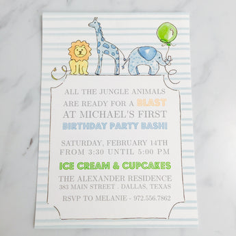 Nursery Animals Blue Invitation