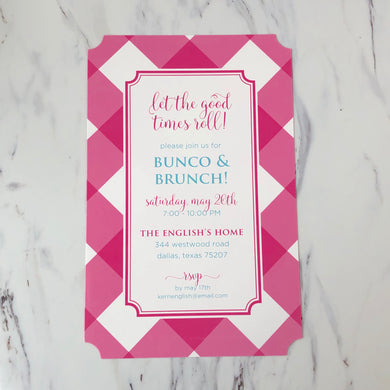 Buffalo Check Invitation | Hot Pink