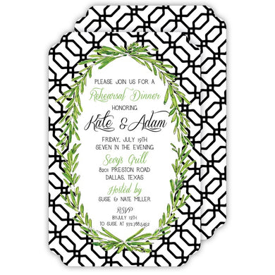 Hand Painted Trellis with Laurel Wreath Invitation