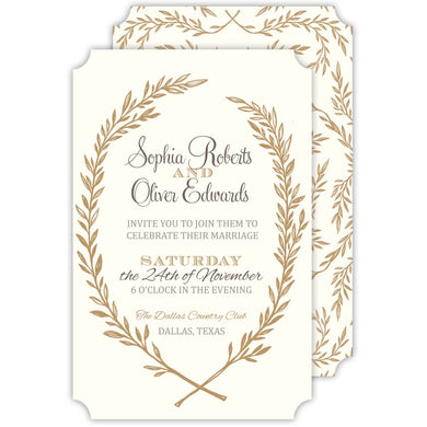 Autumn Laurel Crest Invitation
