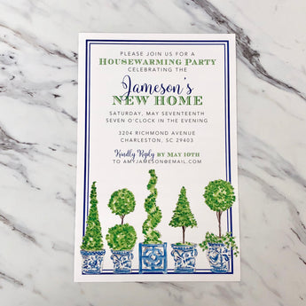 Handpainted Topiary Mix Invitation