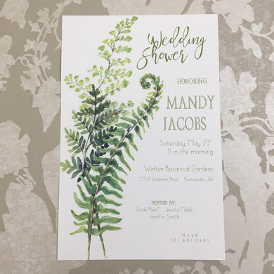 Maiden Hair & Fiddlehead Invitation