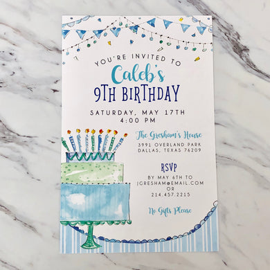 Blue Birthday Cake Invitation