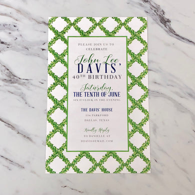 Boxwood Lattice Invitation