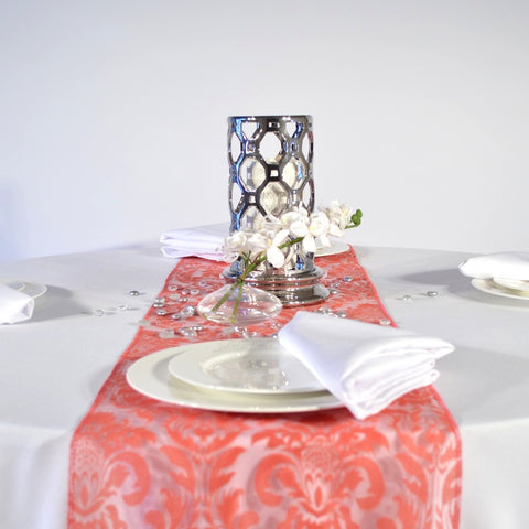 Cayenne Red Flock  Damask Organza Table Runners