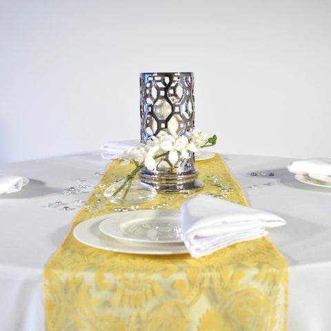 Freesia Yellow Flock Damask Organza Table Runners