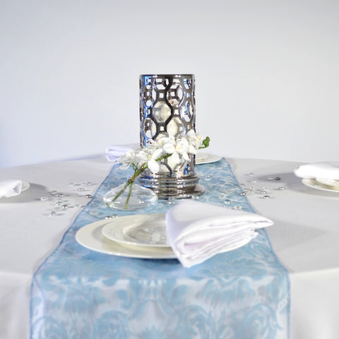 Baby Blue Flock Damask Organza Table Runners