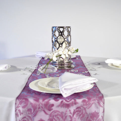 Eggplant Flock Damask Organza Table Runners