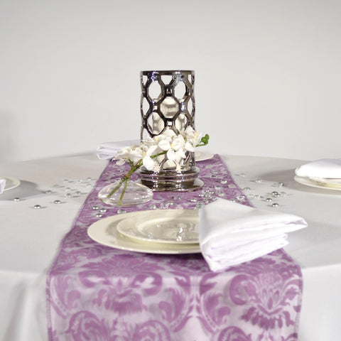 Violet Flock Damask Organza Table Runners