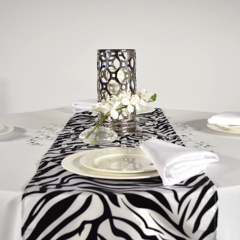 Black and White Zebra Flocking Table Runners