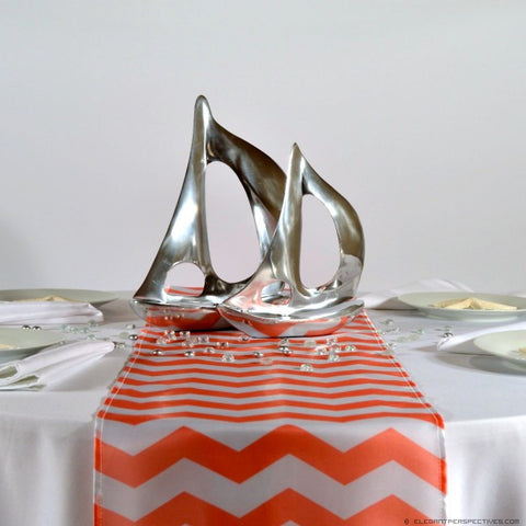 Coral Chevron Satin Table Runners