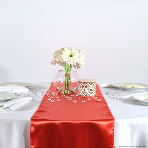 Cayenne Red Satin Table Runners