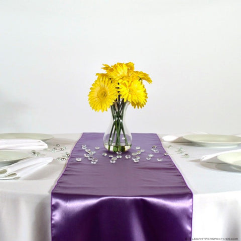 Violet Satin Table Runners