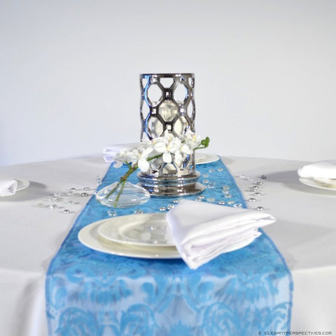 Dazzling Blue Flock Damask Organza Table Runners