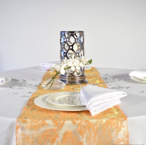 Celosia Orange Flock  Damask Organza Table Runners