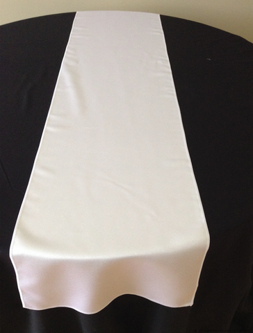 White Jacquard Plain Satin Table Runners