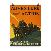 WWI Action US Army Vintage Recruitment Poster