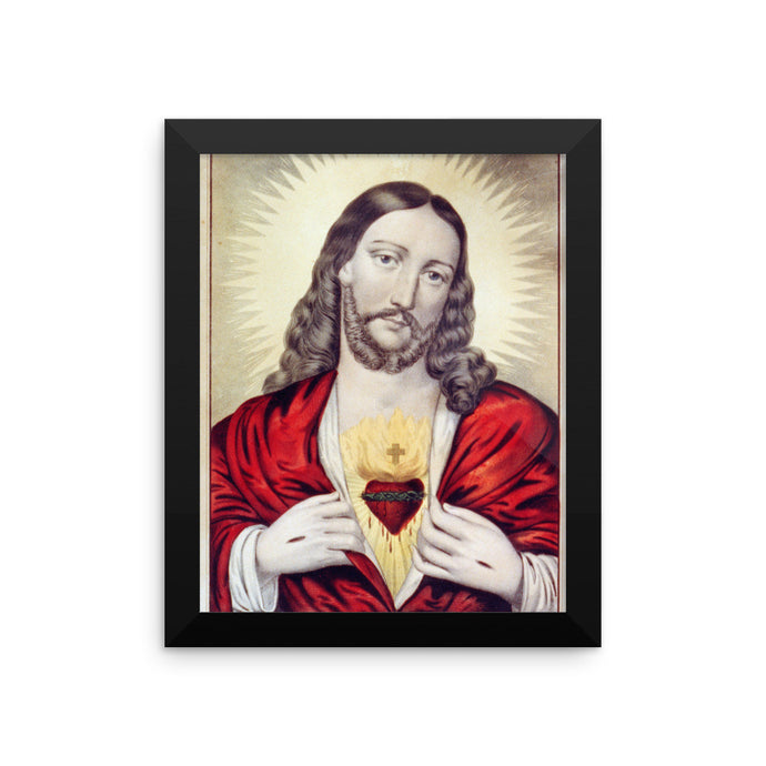 Jesus' Sacred Heart Vintage Framed Poster - Old McLeod Trading Co Product
