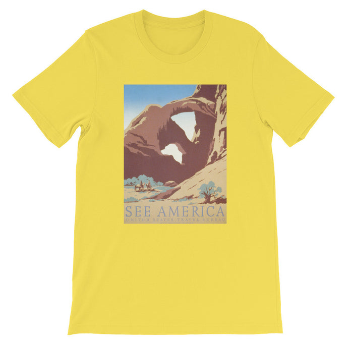 See America Rock Arch History Print T-shirt - Old McLeod Trading Co Product
