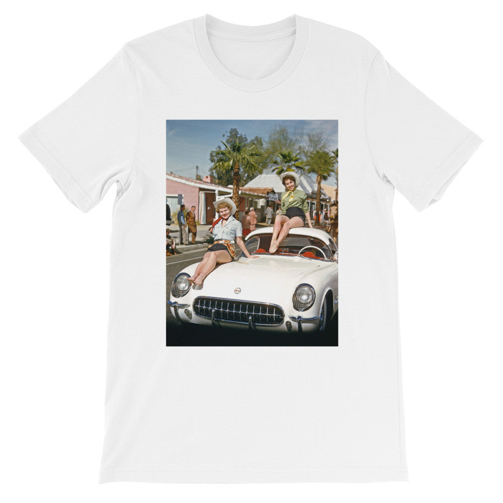 Corvette Girls Vintage Photo Printed T Shirt - Old McLeod Trading Co Product