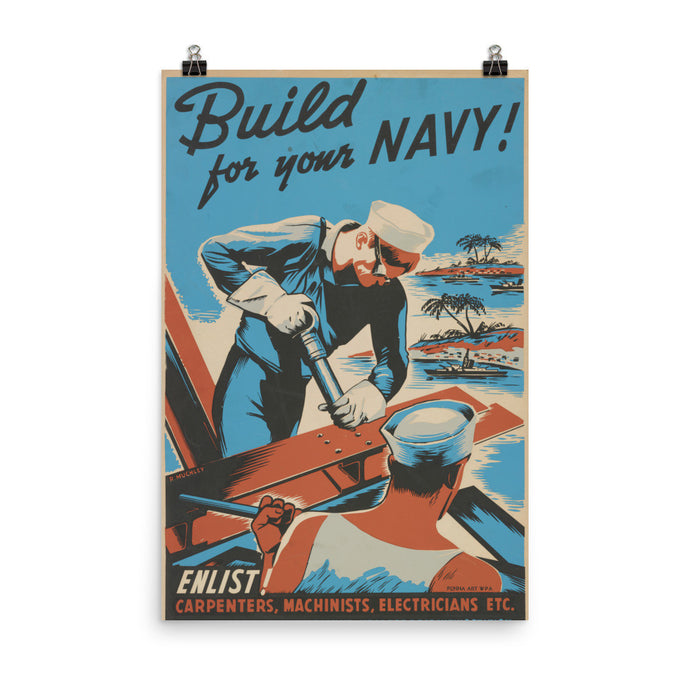 Build For Your Navy Vintage WPA Poster