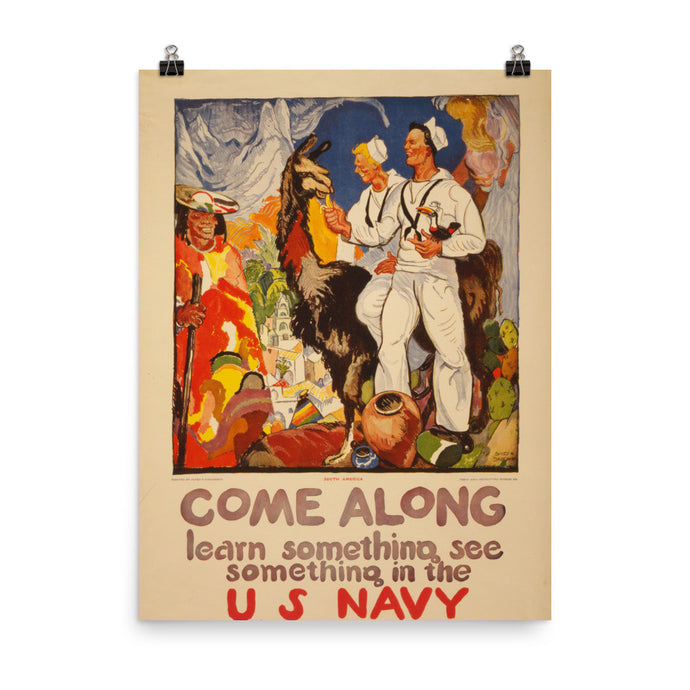 Come Along Vintage US Navy WWII Recruitment Poster - Old McLeod Trading Co Product