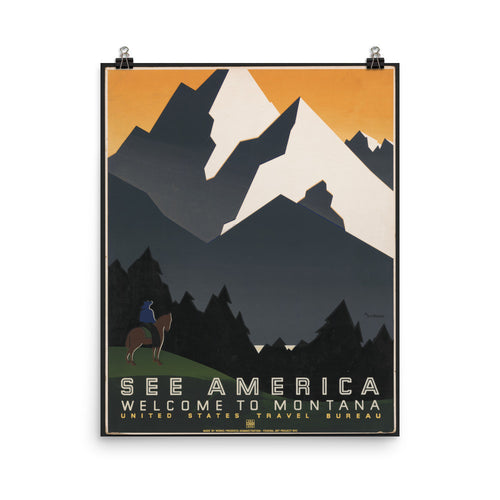 See America Montana WPA Vintage Printed Poster - Old McLeod Trading Co Product