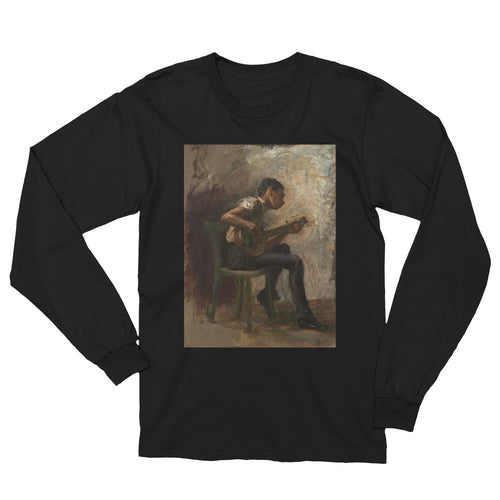 The Banjo Player Vintage Fine Art Print Long Sleeve T Shirt - Old McLeod Trading Co Product
