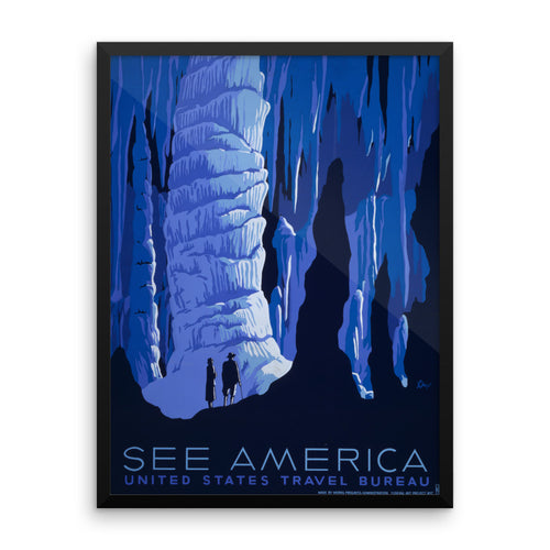 American Caving Vintage WPA Framed Poster
