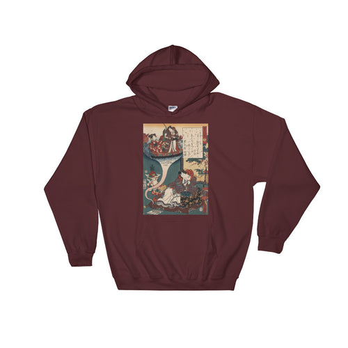 Floating Bridge of Dreams Vintage Japanese Print Hooded Sweatshirt - Old McLeod Trading Co Product