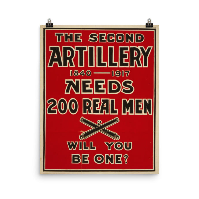 Second Artillery WWI Vintage Recruitment Poster - Old McLeod Trading Co Product
