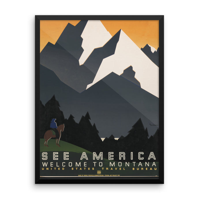 See America Montana WPA Vintage Framed Poster - Old McLeod Trading Co Product