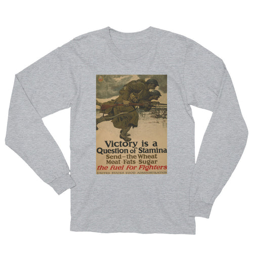 Victory is a Question of Stamina Vintage WWII Print Long Sleeve Shirt - Old McLeod Trading Co Product