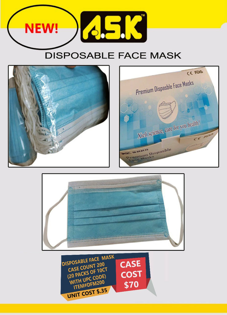 200x 3 PLY DISPOSABLE FACE MASKS WITH ELASTIC EAR LOOPS - K&S Wholesaler