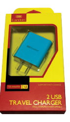 Earldom Dual USB Charger 2.4A Blue (Item# 196879)