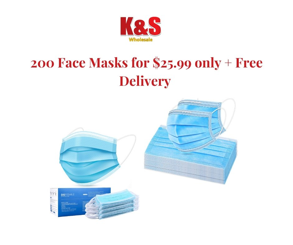 K&S Disposable Face Masks- 200 Disposable Face Masks- - K&S Wholesaler