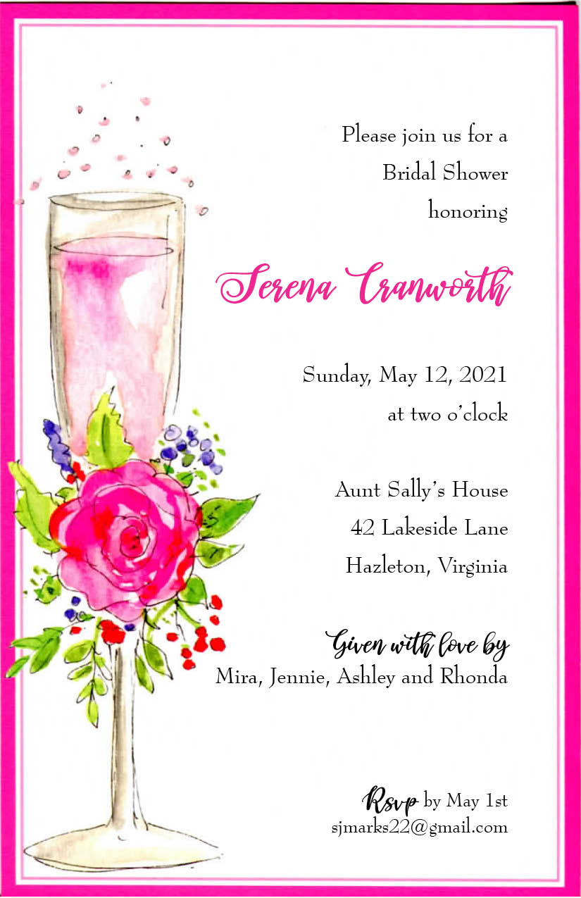 Invitation-Bridal Shower-Pink Champagne