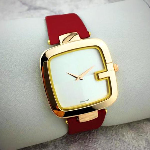 849de261ae8 2017 Beautifull AAA Luxury Square Dial GUCCI Women Watch Black Brown Red  Leather Replica ...