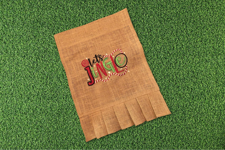 Embroidered Burlap Garden Flag - Let's Jingle