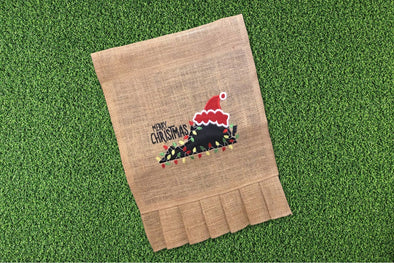 Embroidered Burlap Garden Flag - Merry Christmas States