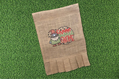 Embroidered Burlap Garden Flag - Gnome Sweet Gnome