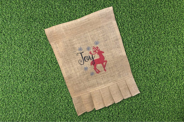 Embroidered Burlap Garden Flag - Joy