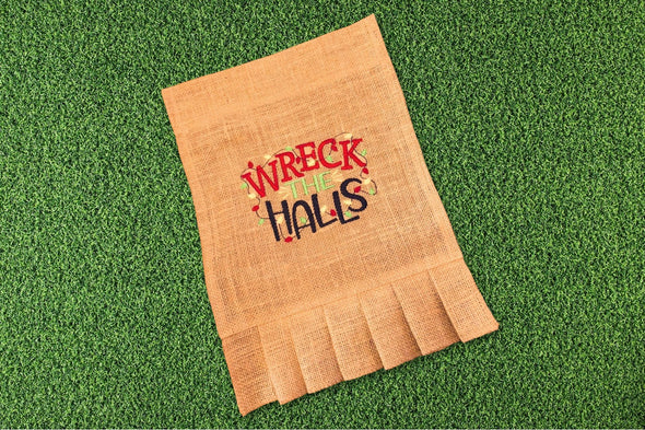 Embroidered Burlap Garden Flag - Wreck the Halls