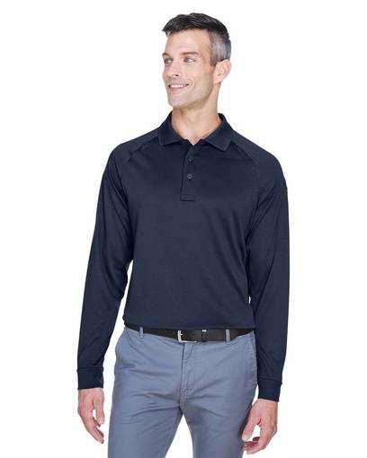 Harriton Dark Navy Long Sleeve Polo (Men's XL)