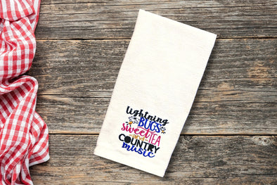 Embroidered Kitchen Towel - Lightning Bugs Sweet Tea & Country Music