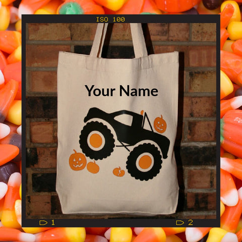 Personalized Monster Truck Trick or Treat Tote Bag