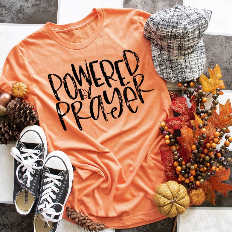Pray without ceasing.  Powered by prayer.  Fall and Autumn t-shirt.  Pumpkin spice and prayer.
