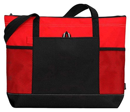 Gemline Zippered Tote Bag (Red)